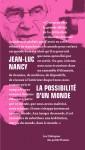 Livre dialogue philosophique - Jean-Luc Nancy - La Possibilité d'un monde